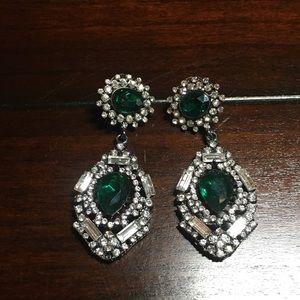 Jewelry - Costume Emerald Rhinestone Fancy Earrings